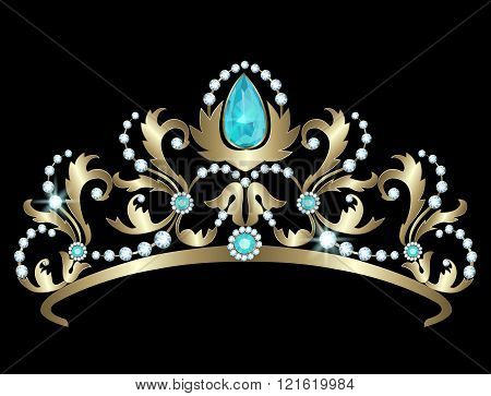 Tiara with diamonds and aquamarines