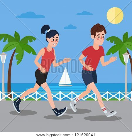 Man And Woman Running On The Seaside Promenade