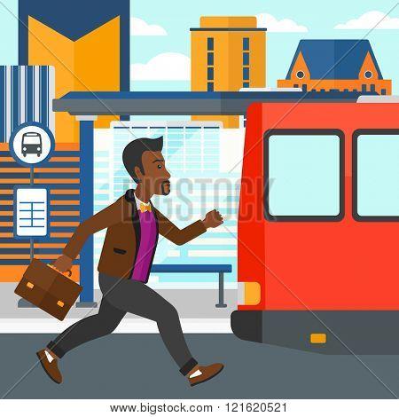 Man missing bus.