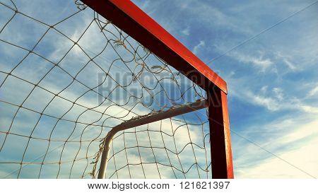 Soccer Goal Against Blue Sky Background.