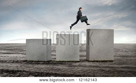 Kaufmann springen bis zu einem höheren cube