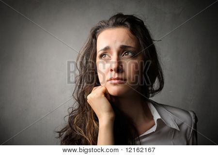 Sad woman crying