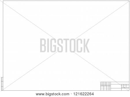 Frame For Technical Drawing On The White Background. Horizontal Frame And Drawing Paper