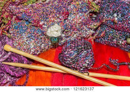 Gaudy Wools And Knitting Needles