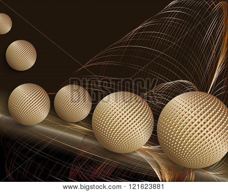 3d-illustration-of-rolling-golden-balls-and-gold-threads