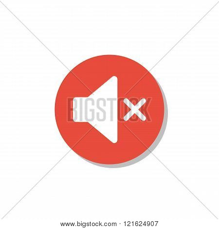 Volume Mute Icon, On White Background, Red Circle Border, White Outline