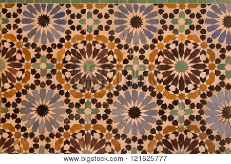 tile panel in the 17th century Saadian tombs in Marrakech, Morocco