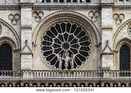 Architecture Detail Of Front Side Cathedrale Notre Dame.