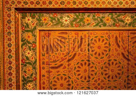 painted wood ceiling decoration in the 19th century Bahia Palace, Marrakech, Morocco