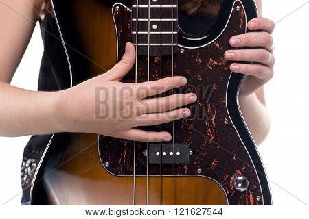 Hands on bass guitar