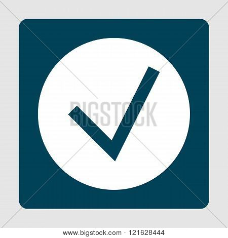 Accept Icon, On White Circle Background Surrounded By Blue