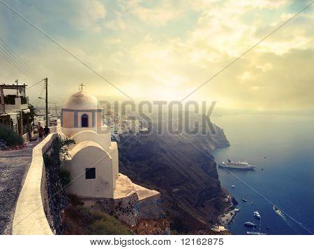 Panorama on Santorini island