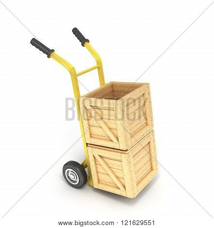 wooden boxes on a hand truck isolated on white background