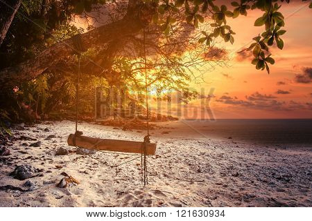The beach in sunset with hanging wooden swing, dark environment in evening