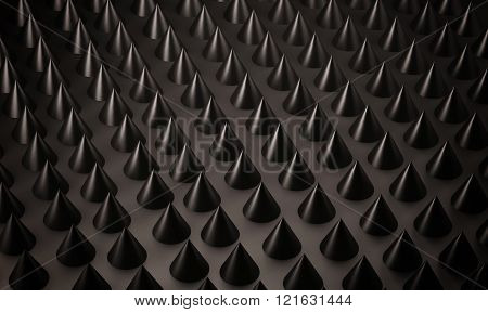 Abstract background, black metallic spiky, 3d rendered