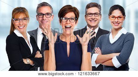 Group of business people wearing eyeglasses.