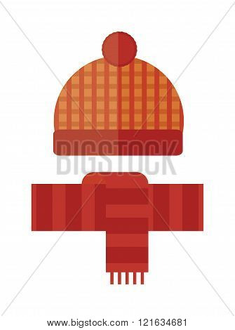 Hat and scarf winter cartoon flat vector illustration. Red winter hat with scarf isolated on white background. Vector winter clothing hat and scarf.