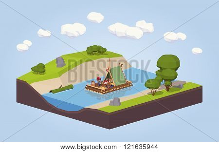 Travel down the river on a raft