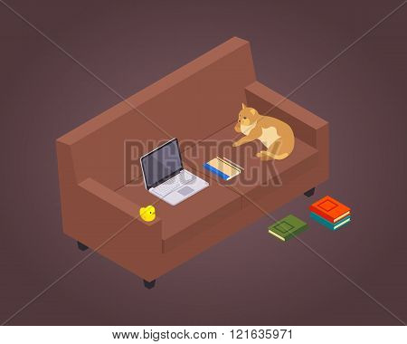 Isometric freelancer workplace