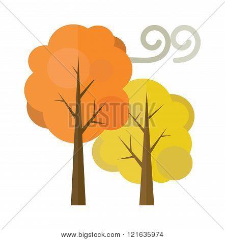 Golden autumn trees flat vector illustration isolated on white background. Autumn trees yellow nature plants. Season autumn beautiful trees forest.