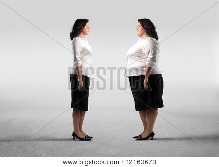 Fat woman standing in front of her thinner clone