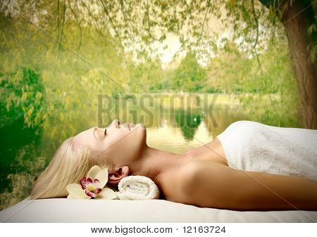 Woman relaxing during a beauty treatment