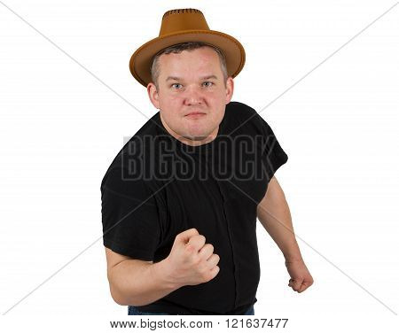 Gangster In  Hat Angry Man Holding Fists Against.