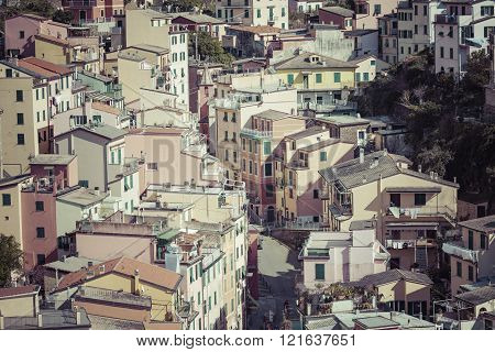 Riomaggiore, Italy - 05 March, 2016 :people Walking On The Street Of Riomaggiore Village In Italy. R