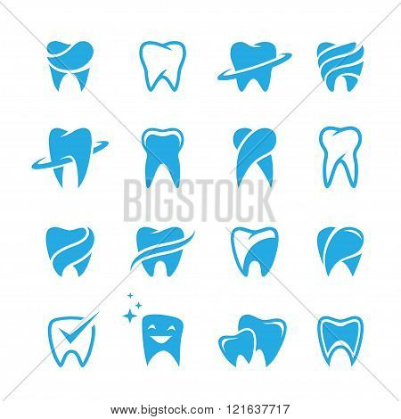 Teeth Icon Set Isolated On White Background