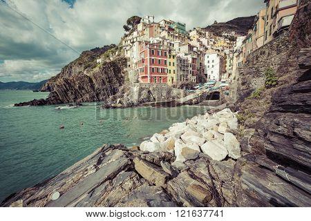 Riomaggiore, Italy - 05 March, 2016 : Beautiful Seaside Village In Summertime, Riomaggiore, Cinque T
