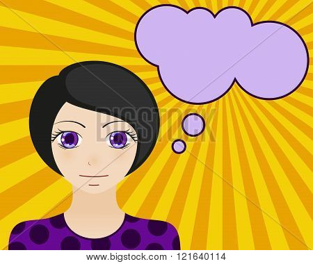 Neutral woman face. Manga style. Comic girl with speech bubble for your text. Brunette hair and viol