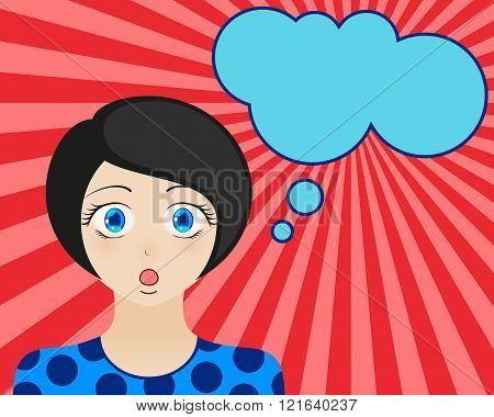 Surprised woman face with open mouth. Manga style. Comic girl with speech bubble for your text. Brun