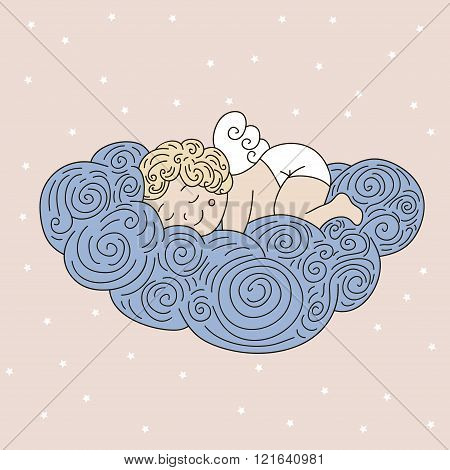 Sleeping angel on cloud. Vector hand drawn illustration with sleeping angel. Cute cartoon character angel