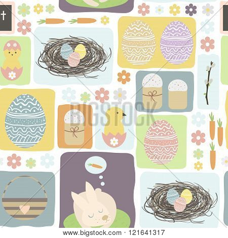Flat style vector bacground on Happy Easter Day. Seamless pattern with Easter symbols. Easter eggs, bunny, easter cake, nest, chicken, willow branch.