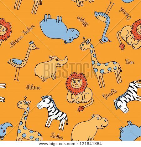 Seamless pattern animal Safari
