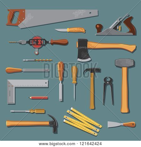 Old Carpenter Tools Vector Set
