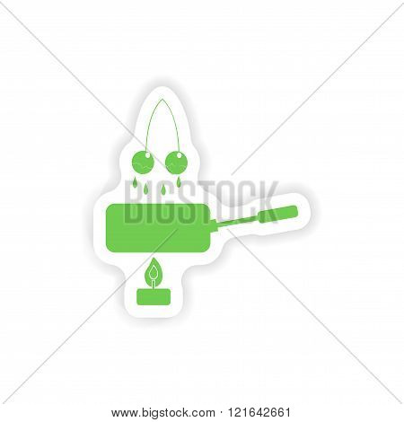 paper sticker on white background cherry fondue