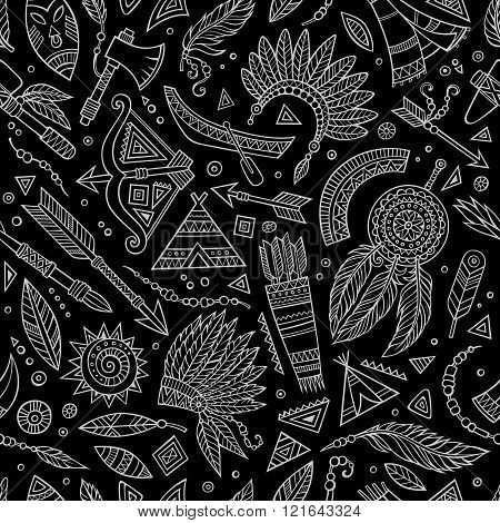 Tribal abstract native chalkboard seamless pattern