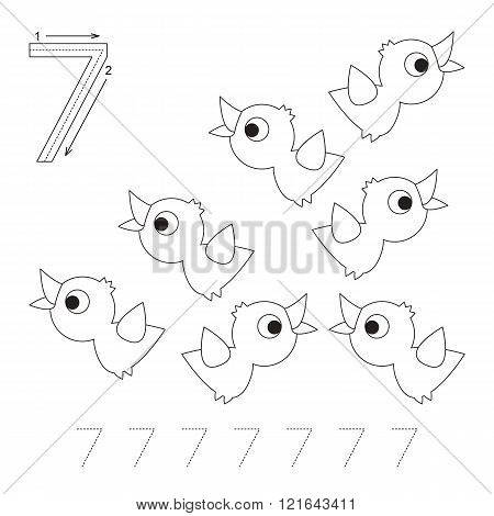 Illustrated worksheet. Learn handwriting. Page to be colored. Tracing worksheet for figure Seven