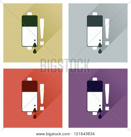 Concept of flat icons with long shadow battery charge