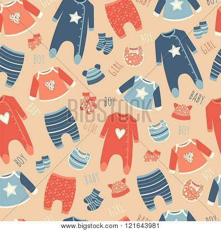 Seamless Pattern With Clothes For Babies