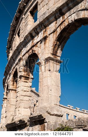 Ruined Colliseum In Pula, Croatia