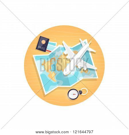 Map and a set of things for travel top view. Hop on a plane. Flat design vector illustration.