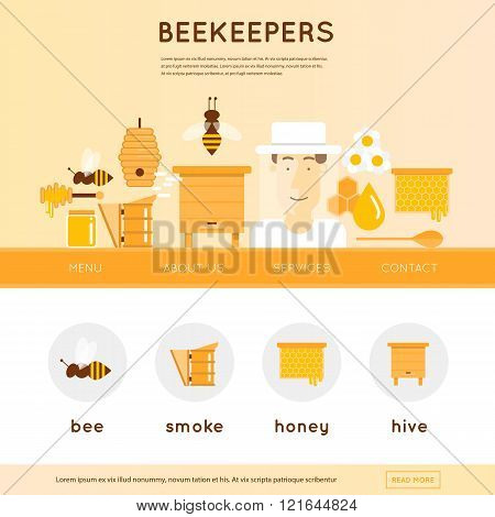 Beekeeper man in hat and tools for beekeeping. Wooden beehives, flowers, smoker, honeycomb, honey jar with dipper. Website template header. Banner. Vector illustration and flat icons.