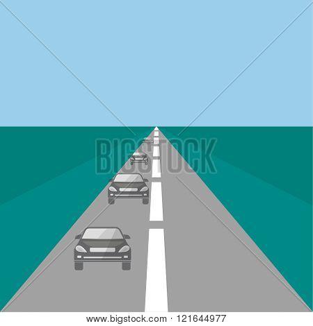 Cars on a highway. Vector illustration. Design