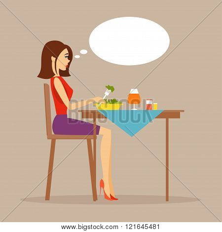 Slender Girl Eating Salad. Vector Illustration
