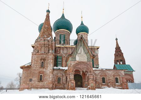 The Church Of St. John Chrysostom at hazy weather. Golden Ring of Russia.