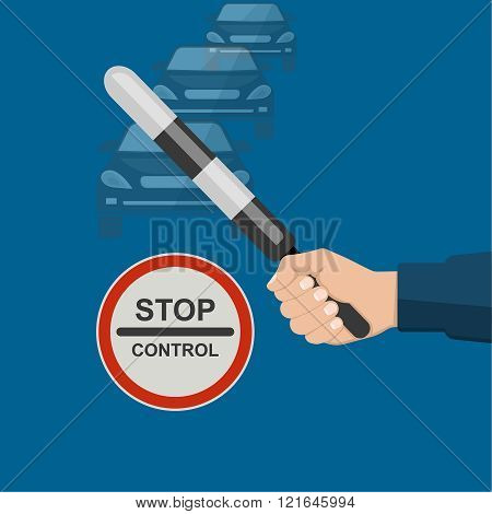 The police officer's hand holding a striped staff. A sign of feet control on a night background. Vector illustration.