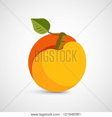 Peach with leaf isolated on background