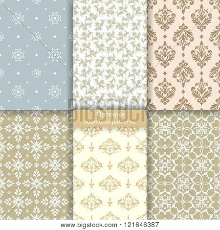 Collection of vector seamless pattern. Set of luxury elegant textures of baroque style. Patterns can be used as background fabric print surface texture wrapping paper web page backdrop wallpaper